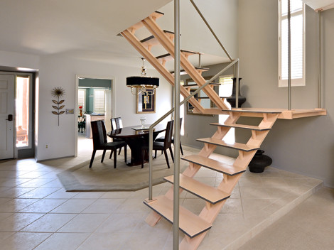 custom modern staircase design by paul rene furniture and cabinets phoenix scottsdale az