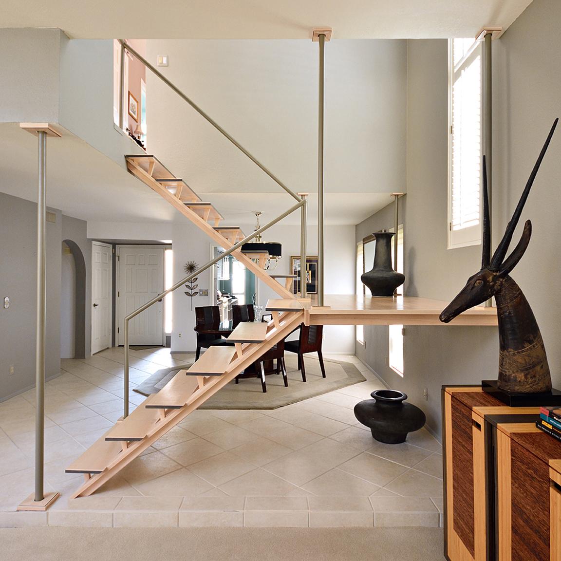 Custom modern stairways by paul rene furniture and cabinets phoenix scottsdale az