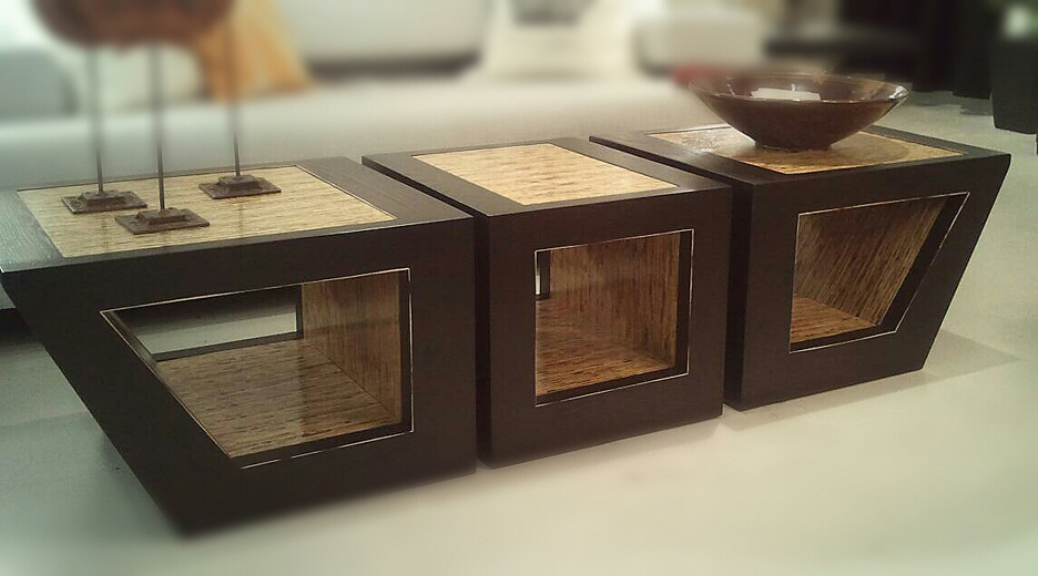 HOLLOW coffee table set kirei board with oak frame by designer paul jeffrey of paul rene furniture and cabinets phoenix and scottsdale az