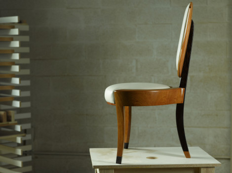 vanity chairs contemporary wood with leather upholstery three legs by paul rene furniture and cabinets phoenix scottsdale az