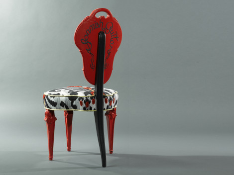upholstered armless dining chairs painted redby paul rene furniture and cabinets phoenix scottsdale az