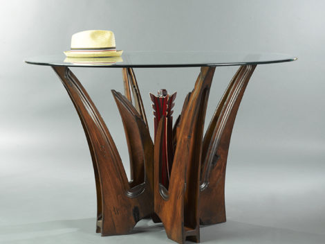 ALOE transitional dining table by paul rene furniture and cabinetry phoenix,az