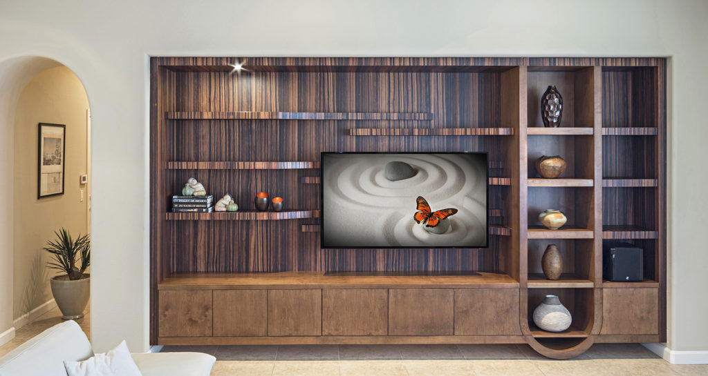 Custom designed modern entertainment center Macassar ebony mixed with clear alder by paul rene furniture and cabinetry phoenix az_