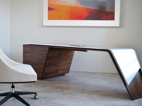 Custom executive walnut desk with stainless steel top by paul rene phoenix az