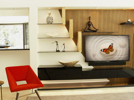contemporary custom home entertainment centers | high gloss basshelf e cabinet | quilted maple glass supports | bamboo mixed with matte white backing by paul rene furniture and cabinets phoenix az