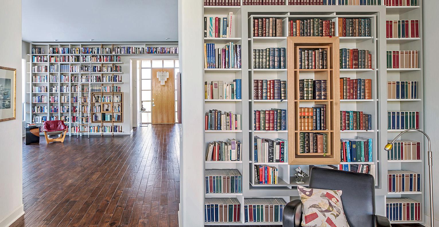 modern custom home library