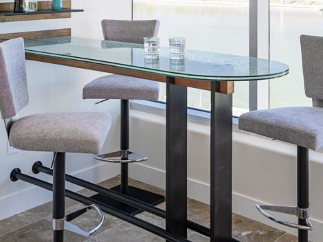 industrial rustic glass top dining table scaled for condominiums