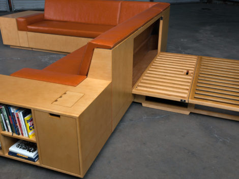 custom contemporay sofa bed sleeper by paul rene furniture and cabinetry