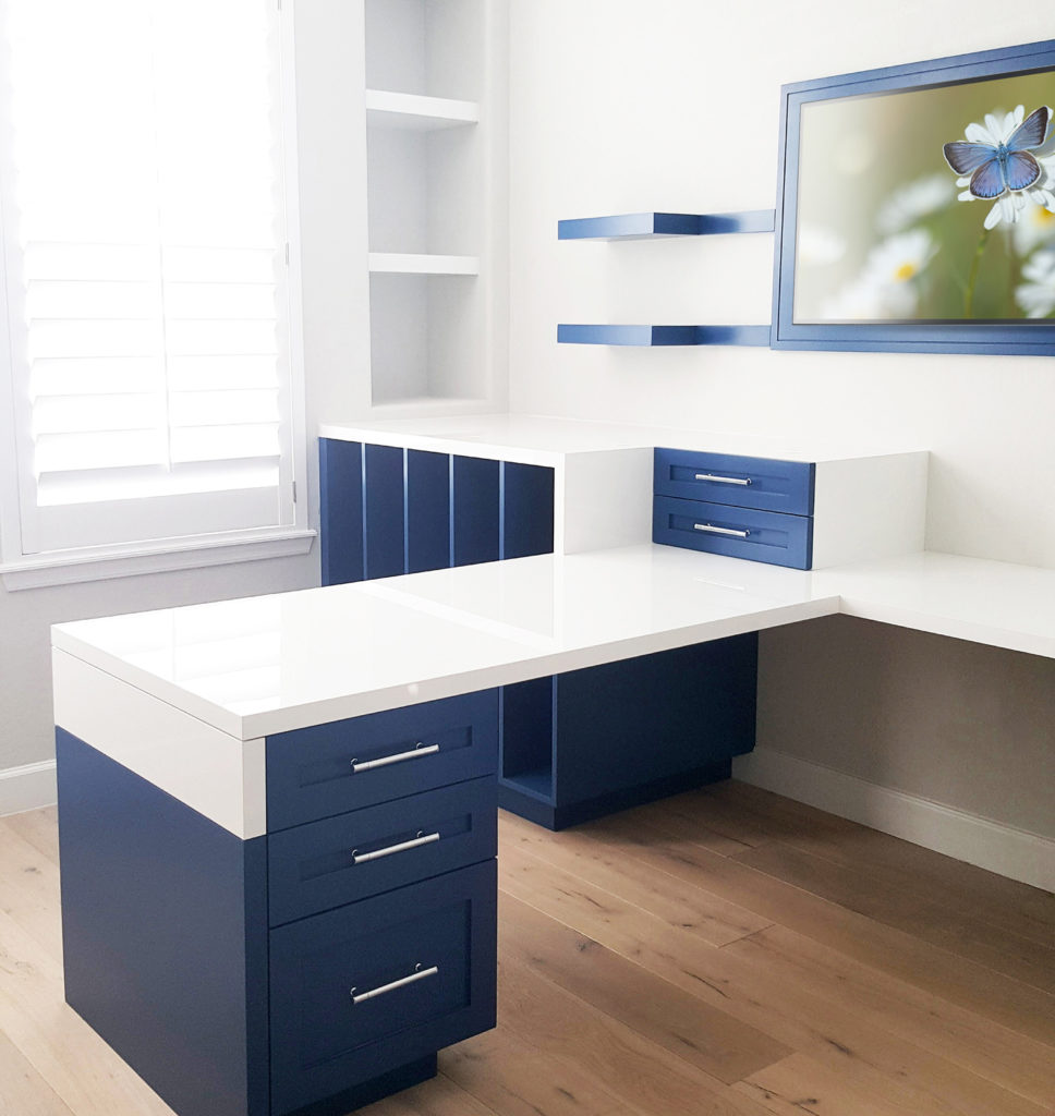 Custom office furniture with gloss and matte finishes by paul rene furniture phoenix az
