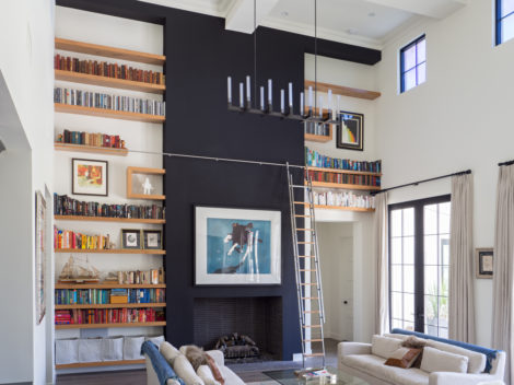 Custom libraries with rolling ladders-reclaimed-white-oak-floating-with-stainless-ladder-by-paul-rene-furntiure-and-cabinetry-phoenix-az