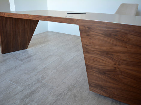 custom walnut executive desk with stainless counter top by paul rene phoenix az