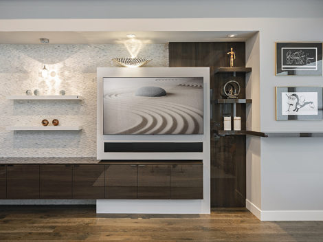 contemporary custom home entertainment centers with high gloss wood and matte surfaces