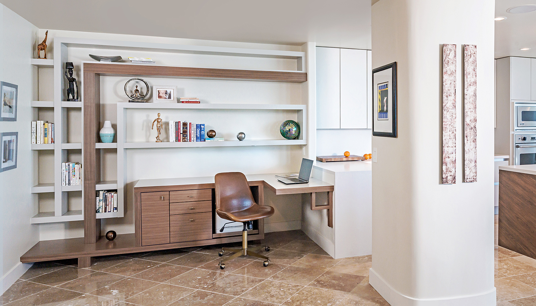 walnut desk mixed with gray satin painted shelves