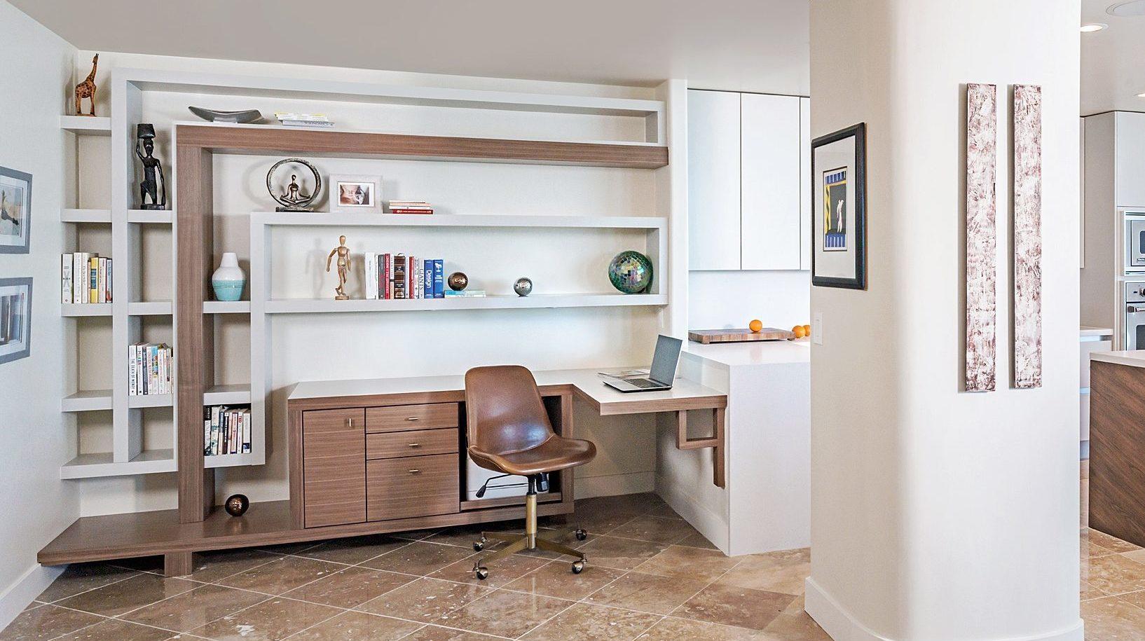 rift cut oak desk with velvet gray upper floating shelving