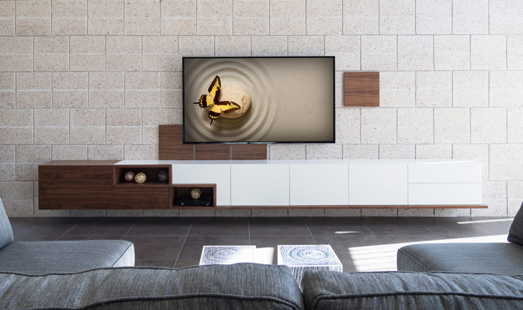 custom home entertainment centers mid century modern inspired walnut mixed matte white by paul rene furniture and cabinetry phoenix az