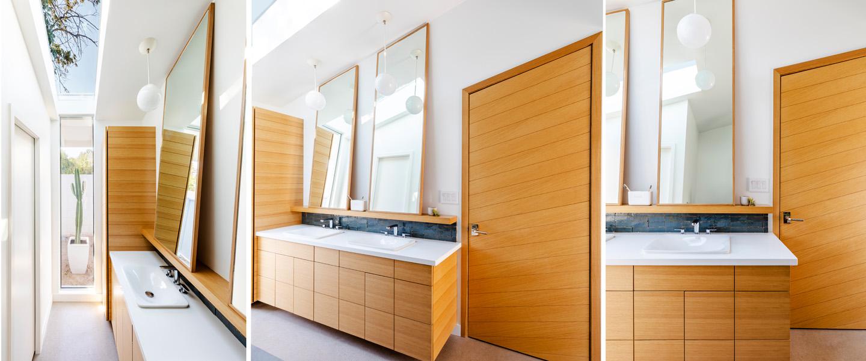 angled rift cut oak bathroom vanity, cabinet and interior door