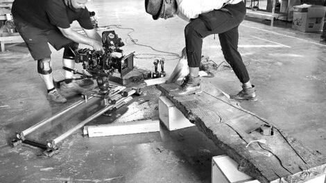 paul jeffrey cutting wood in shop