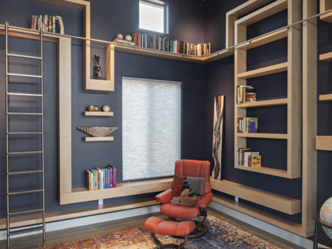 shumway maple winding bookshelves with stainless steel ladder