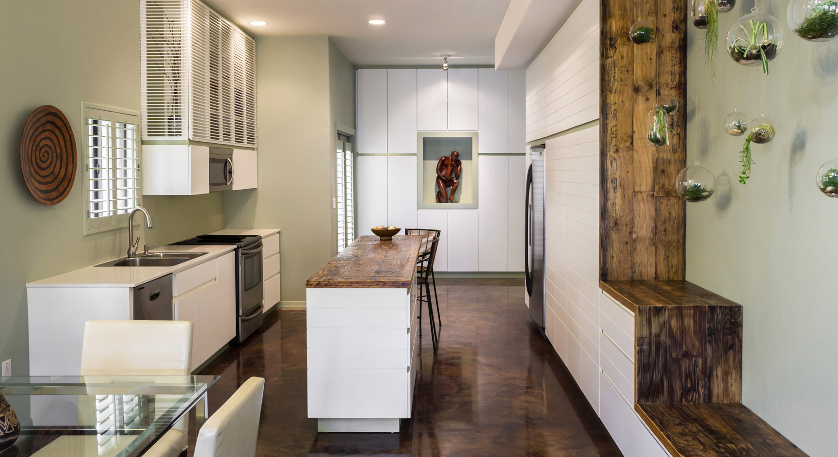 rustic shaker kitchen remodel with reclaimed countertop by paul rene furniture and cabintry phoenix az